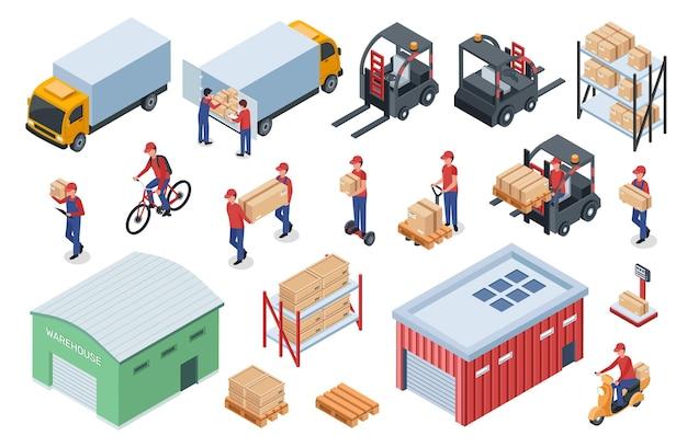 Armazém isométrico, logística, entrega, trabalhador, caminhão, empilhadeira, prateleira de armazenamento com caixas