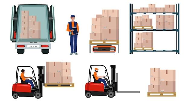 Armazém, logística, armazenamento, entrega, pessoal uniformizado, empilhadeira, prateleiras, mercadorias.