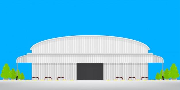 Armazém logístico da fábrica andar vazio lá fora, edifício da fábrica de armazém