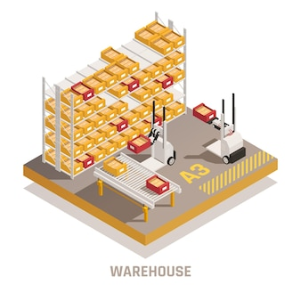 Armazém moderno com ilustração isométrica de empilhadeiras operadas remotamente