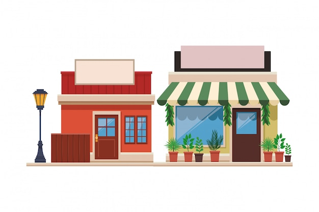 Armazena desenhos animados frente de compras