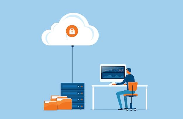 Armazenamento de tecnologia plana de negócios e conceito de serviço de servidor em nuvem com conceito de trabalho de equipe de administrador e desenvolvedor