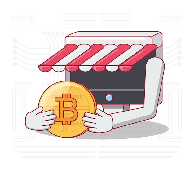 Armazenar on-line com computador segurando uma moeda de bitcoin