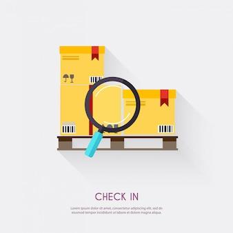 Armazene a placa dos ícones e o transporte logísticos, ilustração do armazenamento.