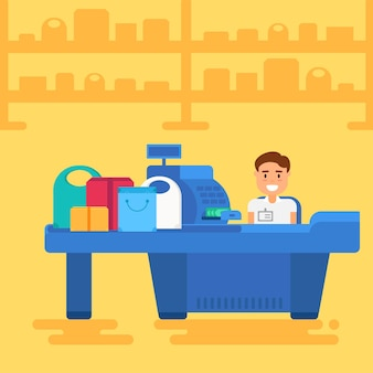 Armazene com caixa próximo ao caixa. armazene ou venda o interior do varejo. ilustração do conceito de compras. vetor