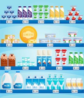 Armazene o balcão com produtos lácteos. mercearia com preços, prateleira ou geladeira com compras.