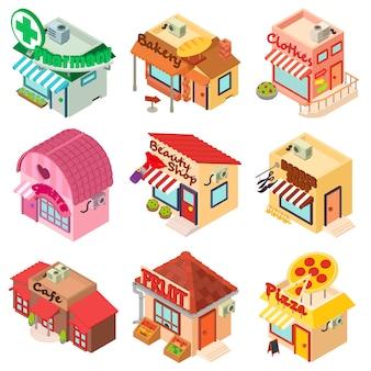 Armazene os ícones da loja da frente da fachada ajustados. ilustração isométrica de 9 loja fachada frontal loja vetor ícones para web