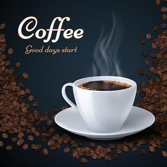 Aroma de grãos de café e uma xícara de café quente.