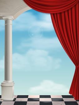 Arqueie com colunas e cortina no fundo do céu.