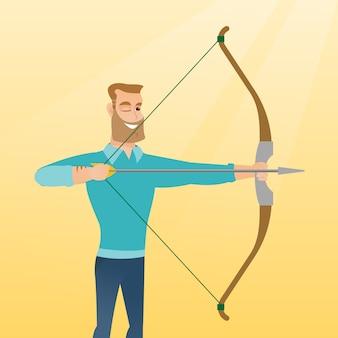 Arqueiro caucasiano novo que treina com um arco