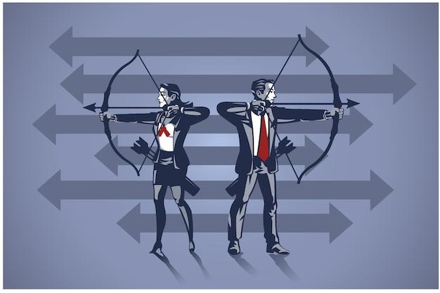 Arqueiro de pessoas de negócios pronto para atirar flecha. conceito de ilustração de negócios de alvo de negócios