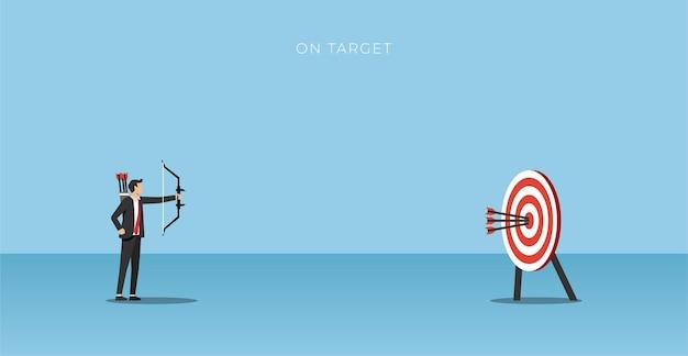 Arqueiro do empresário acertando o alvo. ilustração do conceito de negócio