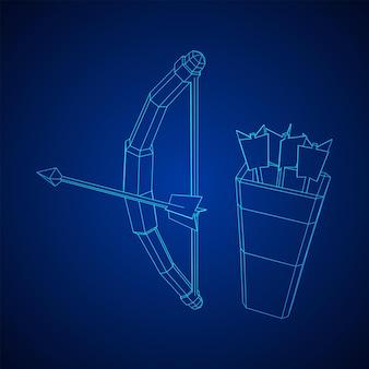 Arqueiro medieval com arco e flecha. ilustração em vetor malha poli baixa wireframe.