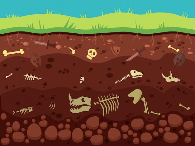Arqueologia, artefatos históricos sob ilustração do solo
