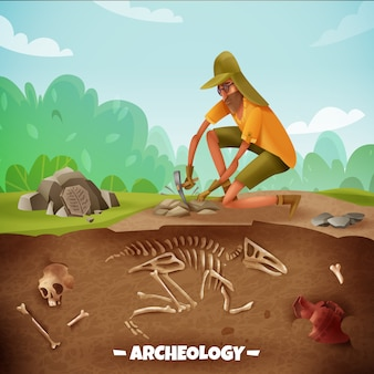 Arqueologia com caráter de texto e arqueólogo durante escavações arqueológicas com ossos de dinossauro e paisagem ao ar livre
