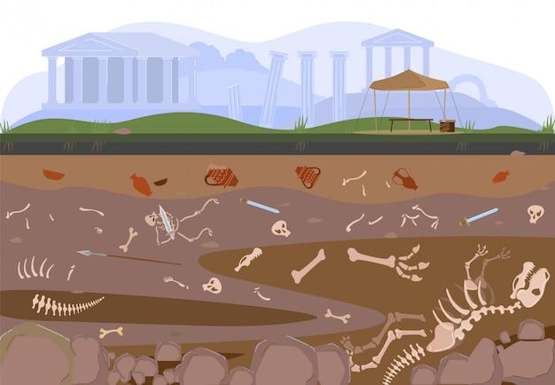Arqueologia, escavação de paleontologia ou escavação de camadas de solo por arqueólogos com artefatos, ilustração de descoberta de tesouros.
