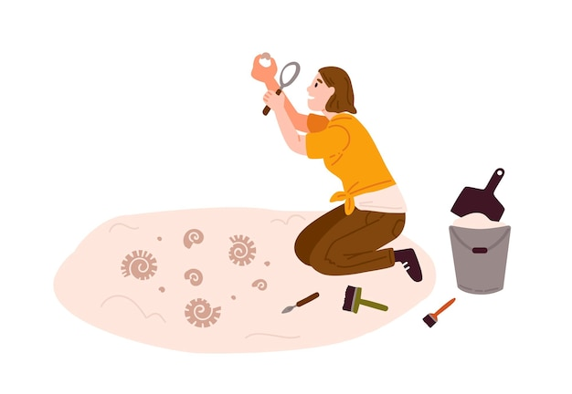 Arqueologia, ilustração em vetor plana pesquisa de antiguidades. escavações arqueológicas e geológicas, estudo científico, exploração costeira. arqueóloga feminina, mulher estudando o personagem de desenho animado de concha.