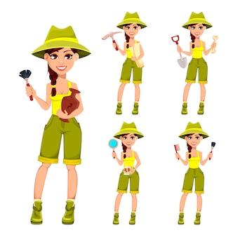 Arqueólogo de mulher. personagem de desenho animado bonito