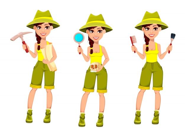 Arqueólogo de mulher. personagem de desenho bonito
