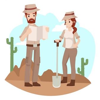 Arqueólogo está discutindo sobre buscas de tesouros subterrâneos