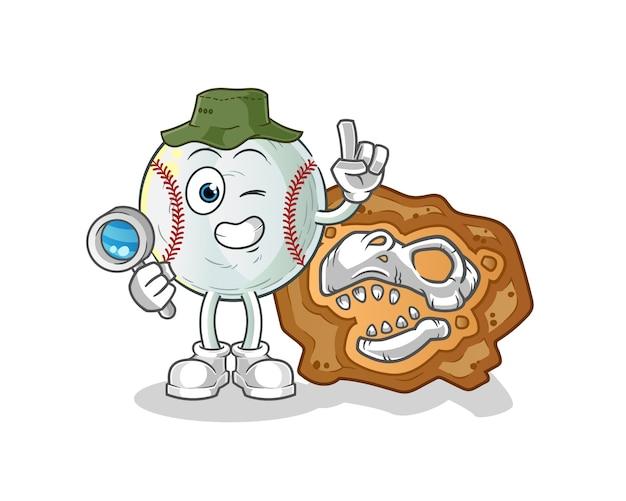 Arqueólogos do beisebol com ilustração do mascote de fósseis de dinossauros