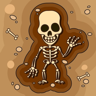 Arqueólogos, paleontólogos trabalhando em escavações ou cavar uma camada de solo com uma pá e explorar os artefatos encontrados.