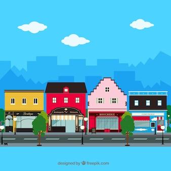 Arquitectura da cidade com lojas de fachadas em design plano