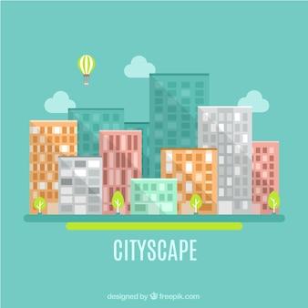Arquitectura da cidade de apartamento em estilo moderno