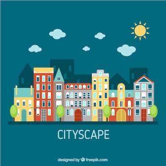 Arquitectura da cidade de apartamento em um dia ensolarado