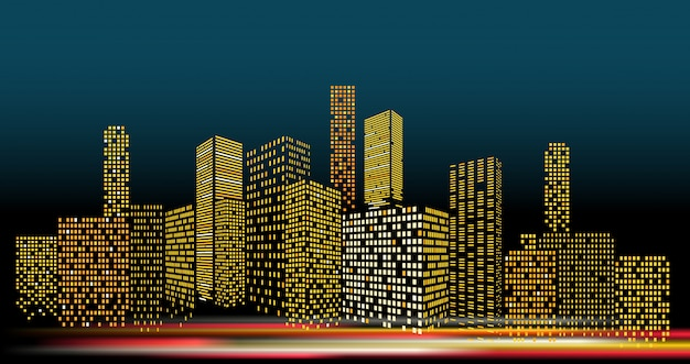 Arquitectura da cidade moderna na ilustração do vetor da noite. perspectiva de edifícios da cidade