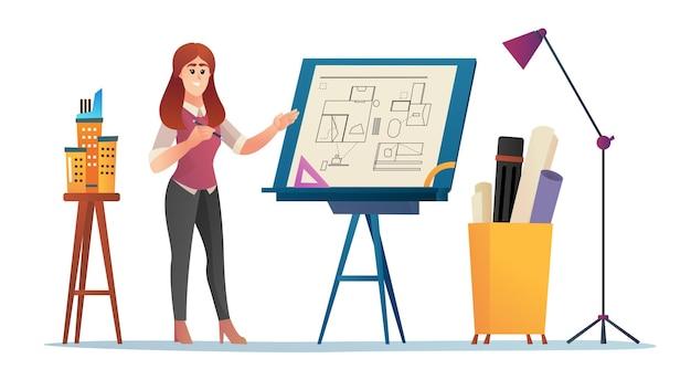 Arquiteta apresentando ilustração dos desenhos animados do conceito do projeto