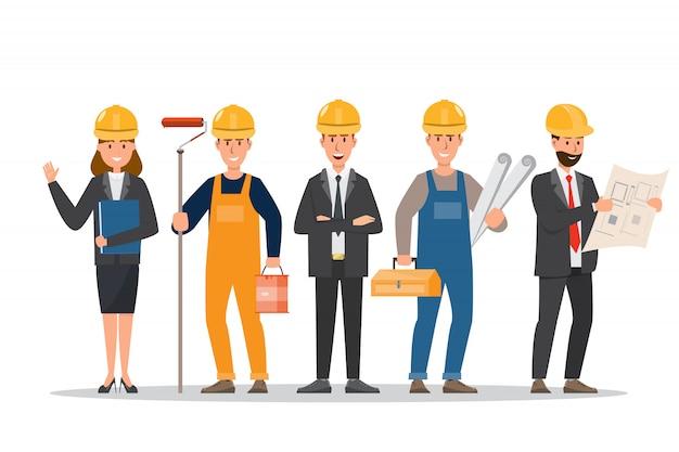 Arquiteta, capataz, engenharia, trabalhador construção, em, diferente, characte