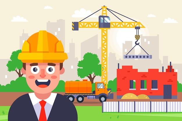 Arquiteto com um capacete amarelo em uma construção.