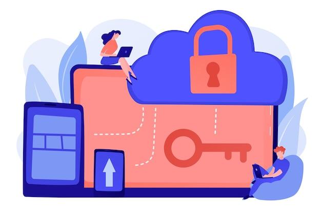 Arquiteto e engenheiro trabalhando em tecnologias e controles para proteger dados e aplicativos. conceito de computação em nuvem e segurança da informação em nuvem