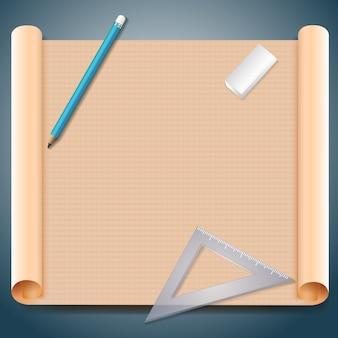 Arquiteto em papel quadrado marrom com caneta triangular, régua e borracha.