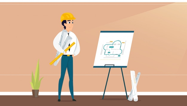 Arquiteto masculino, examinando o plano de design de sala