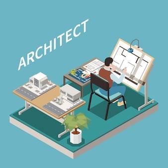 Arquiteto na mesa de composição isométrica com vista da área de trabalho do arquiteto com modelo arquitetônico e folha de projeto