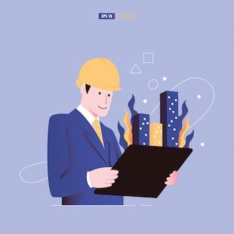 Arquiteto visualizar edifícios 3d no tablet que emergem da ilustração do documento do plano de arquitetura