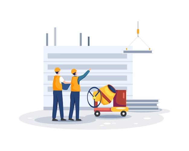 Arquitetos discutem um projeto. contratante e personagem de engenheiro. ilustração em um estilo simples