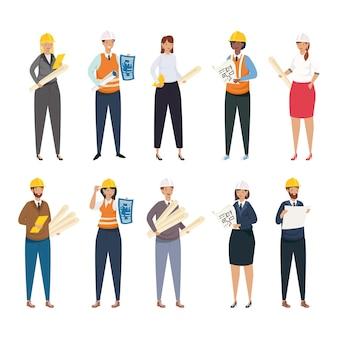 Arquitetos e engenheiros pessoas com capacetes e planos de conjunto de ícones de projeto de remodelação de construção e tema de trabalho ilustração vetorial