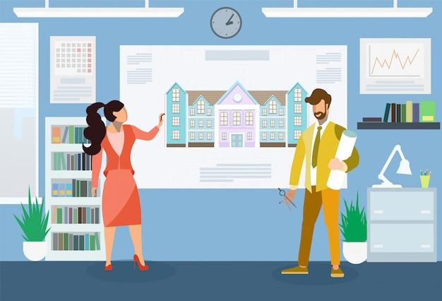 Arquitetos, fazendo, apresentação, apartamento, ilustração