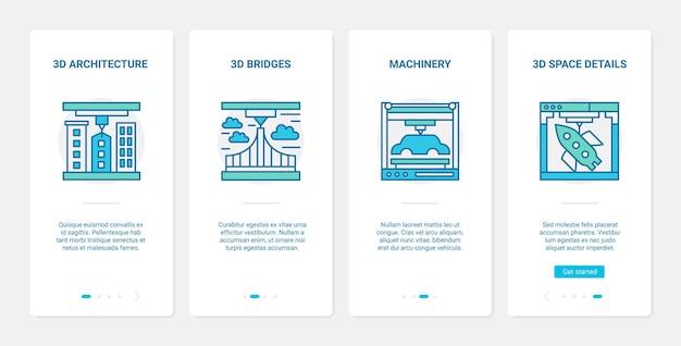 Arquitetura 3d e design de linha de modelagem de máquinas conjunto de telas de aplicativos para dispositivos móveis ux