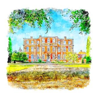 Arquitetura casa chicheley hall esboço em aquarela desenhado à mão
