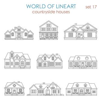 Arquitetura casa de campo casa geminada conjunto de estilo de arte de linha.