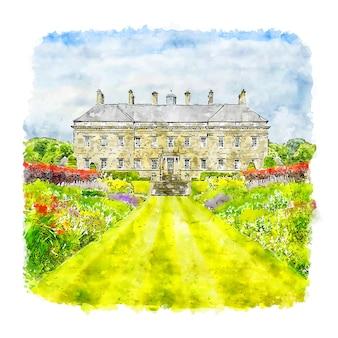 Arquitetura casa escócia esboço em aquarela desenhado à mão