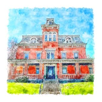 Arquitetura casa frança esboço em aquarela ilustração desenhada à mão