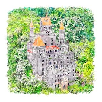 Arquitetura castelo aquarela esboço ilustração desenhada à mão