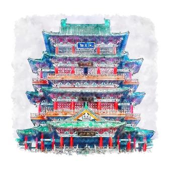 Arquitetura castelo china desenho em aquarela ilustração desenhada à mão