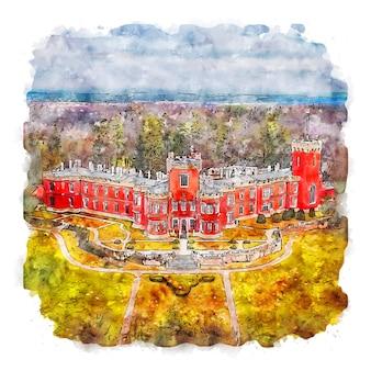 Arquitetura castelo frança esboço em aquarela ilustração desenhada à mão