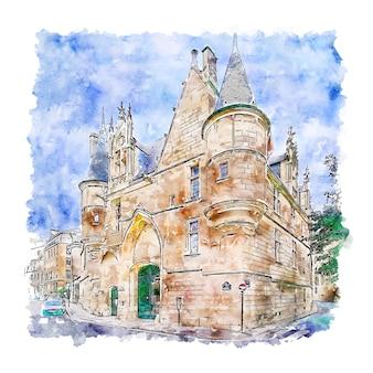 Arquitetura castelo paris desenho em aquarela ilustração desenhada à mão